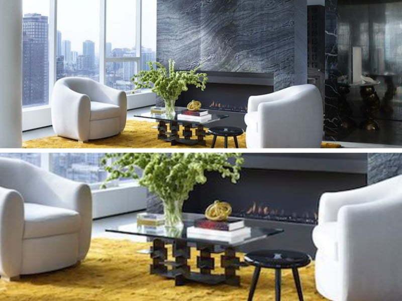 Minimalist tasarımla dekore edilen bir salon.