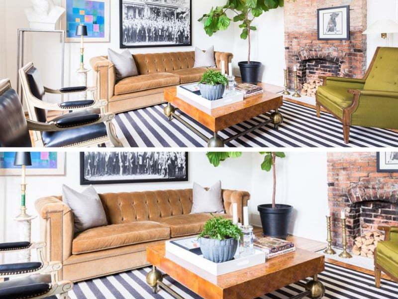 cesur çizgili güzel katmanlı bir oturma odası
