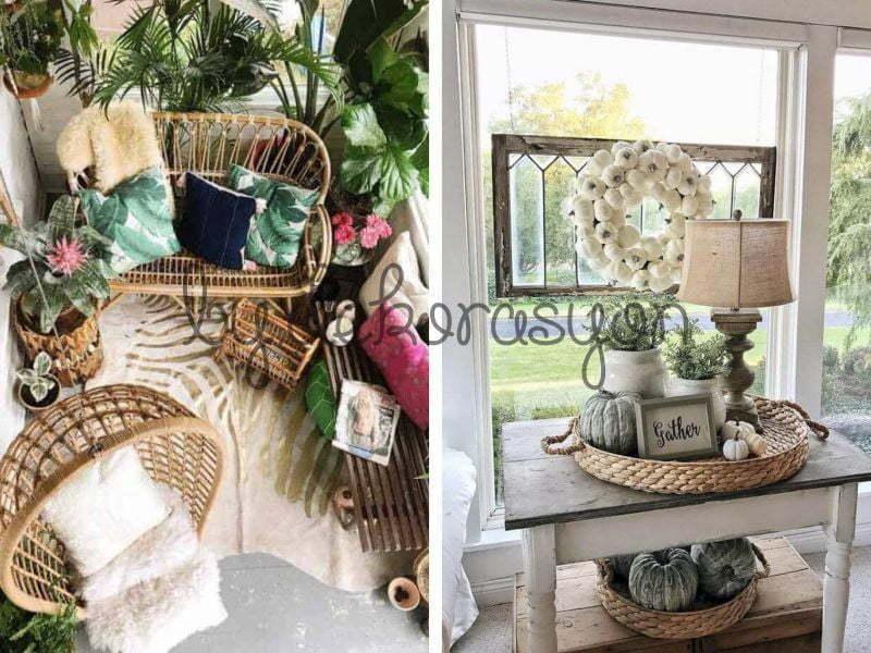 Sebzelikten kaşıklığa, kavanozdan kahvaltılığa, çöp kutusundan servise kadar her yerde hasırın gösterişli dekoratif yönünü sergileyebilirsiniz.
