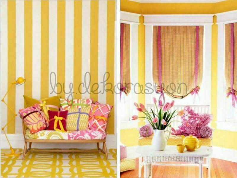 İki canlı rengin farklı tonlarıyla uygulanabilen birçok farklı dekorasyon fikri