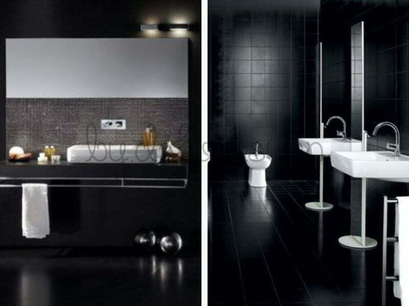 Siyah ve beyazın uyum içinde kullanıldığı banyo dekorasyonları