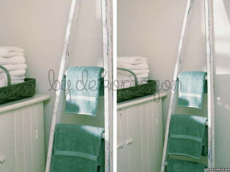 merdiveninizi boyayıp raf olarak ya da havlu tutacağı
