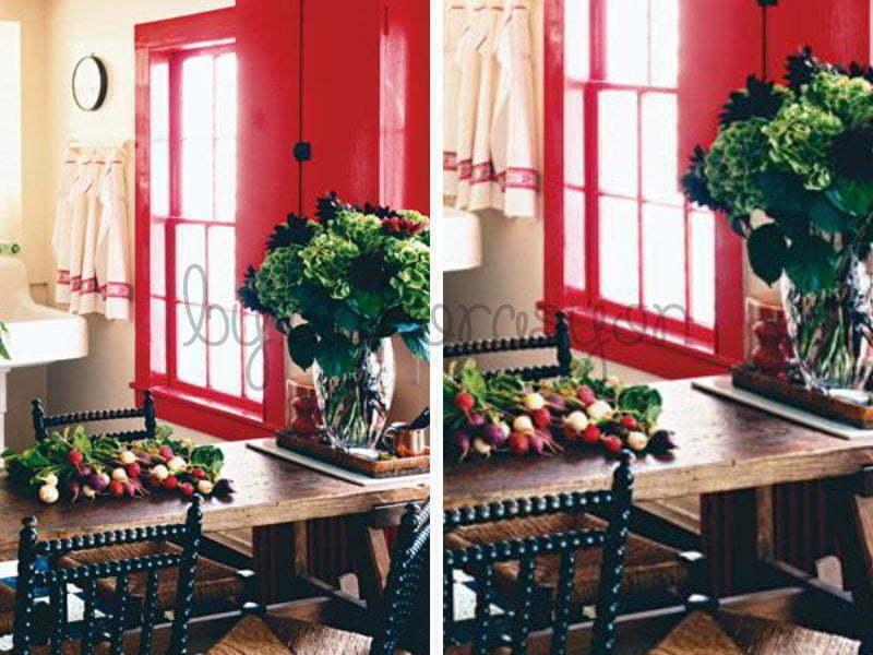 Evinizi gençleştirmek için kırmızı, yeşil ve mavi tonları