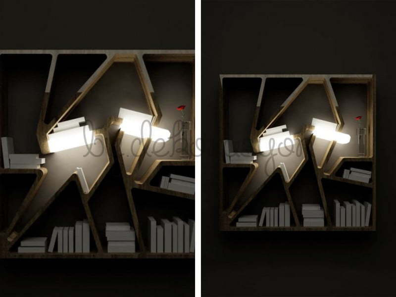 Karanlıkta istediğiniz bir kitabı seçerken dramatik bir etki yaratacak kitaplık modelleri.