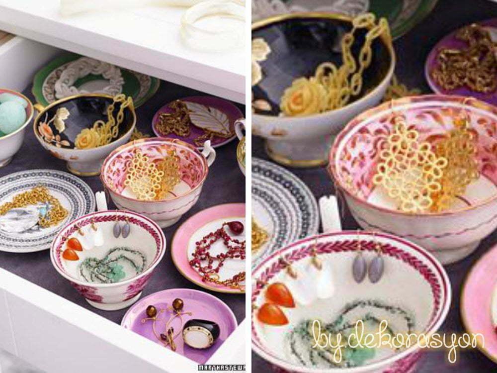 Çekmecelerinize ufak, desenli kase ve tabaklar yerleştirerek dev bir mücevher kutusu havası oluşturabilirsiniz.