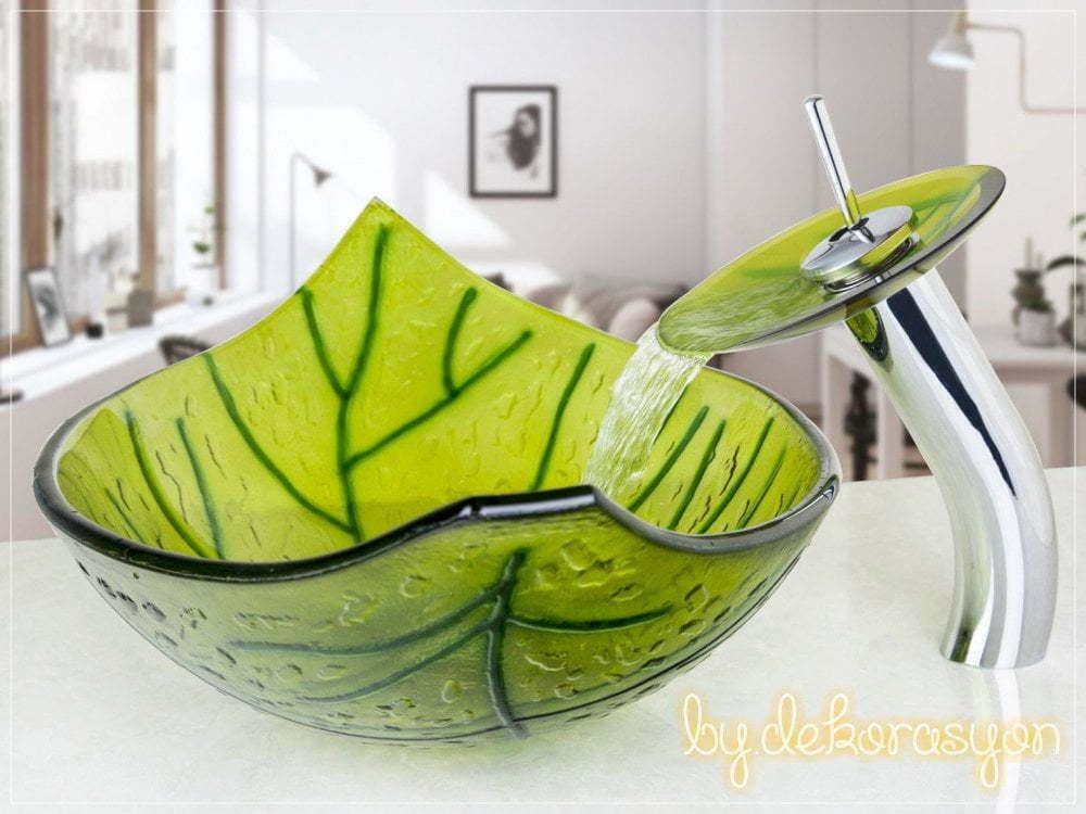 Yaprak şeklinde cam lavabo